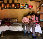Meninos de escola Nepal Imagens de Stock