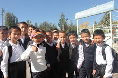 Meninos de escola novos felizes Imagens de Stock