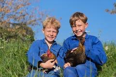 Meninos de exploração agrícola com galinhas Fotos de Stock Royalty Free
