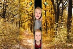 Meninos do passeio em portas outonais do parque Imagens de Stock