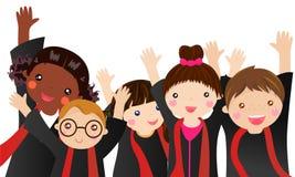 Meninos e graduado das meninas ilustração do vetor