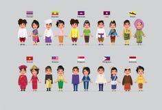 Meninos e meninas do ASEAN ilustração do vetor