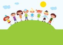 Meninos e meninas dos desenhos animados ilustração do vetor
