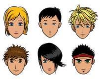 Meninos e meninas japoneses de Chibi Fotos de Stock Royalty Free