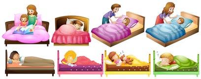 Meninos e meninas na cama ilustração do vetor