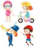 Meninos e meninas que fazem a atividade diferente Imagens de Stock Royalty Free