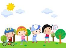 Meninos e meninas que jogam a ilustração dos esportes Fotografia de Stock Royalty Free