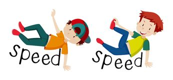 Meninos e velocidade da palavra ilustração royalty free
