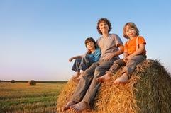 3 meninos em um monte de feno no campo Fotografia de Stock