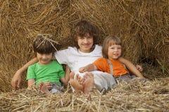 3 meninos em um monte de feno no campo Fotografia de Stock Royalty Free