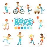 Meninos felizes e seu comportamento clássico previsto com jogos ativos e práticas do esporte ajustadas do papel masculino tradici ilustração stock