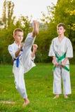 Meninos no quimono branco durante o karaté do treinamento Imagens de Stock Royalty Free