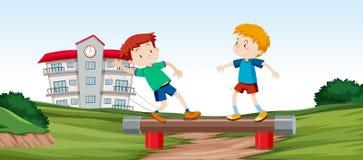 Meninos que jogam a barra do equilíbrio ilustração royalty free