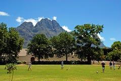 Meninos que jogam com a bola na exploração agrícola do vinho, África do Sul Imagem de Stock Royalty Free