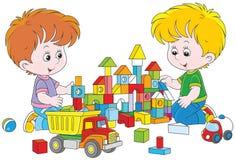 Meninos que jogam com tijolos ilustração do vetor