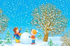 Meninos que jogam em um parque do inverno ilustração stock