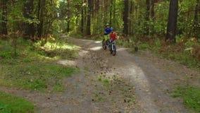 Meninos que montam suas bicicletas na floresta vídeos de arquivo