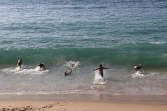 Meninos que nadam foto de stock