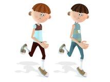meninos running da caixa 3D Fotografia de Stock Royalty Free