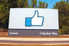 MENLO PARK, CA - JULY 17: A sign at the entrance to the Facebook World Headquarters located in Menlo Park, California on July 17, Royalty Free Stock Image