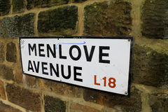 Menlove avenue sign in Liverpool. Menlove avenue sign on a wall in Liverpool Stock Image