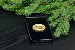 Mennicza crypto waluta Bitcoin na telefonie Świerczyny gałąź na plecy Fotografia Stock