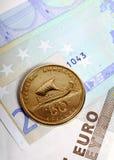 mennicze drachmy euro notatki Zdjęcie Royalty Free