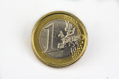 menniczego euro odosobniony macro jeden biel Zdjęcia Stock