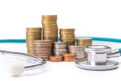 menniczej sterty narastający biznes z medycznych instrumentów stetoskopem Obraz Royalty Free