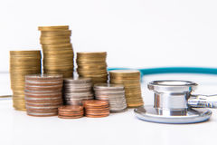 menniczej sterty narastający biznes z medycznych instrumentów stetoskopem Obraz Stock