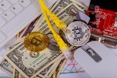 menniczy bitcoin dolarów graficznej karty interneta drut Zdjęcie Stock