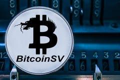 Menniczy cryptocurrency Bitcoin SV i liczby arytmometr BSV obrazy royalty free