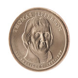 menniczy dolarowy Jefferson prezydencki Thomas Zdjęcie Stock