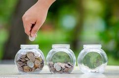 Menniczy drzewny Szklany słój rośliny dorośnięcie od monet na zewnątrz szklanego słoju pieniądze inwestycji i oszczędzania pienię obraz royalty free