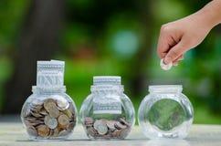 Menniczy drzewny Szklany słój rośliny dorośnięcie od monet na zewnątrz szklanego słoju pieniądze inwestycji i oszczędzania pienię obrazy stock
