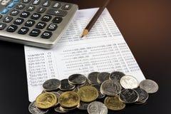 Menniczy i i kalkulator na bankowości Uzasadniał biznesu Finansowego pojęcie Obraz Royalty Free