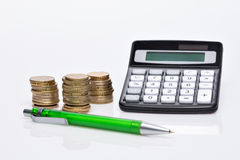 Menniczy stos, kieszeniowy kalkulator Obrazy Stock