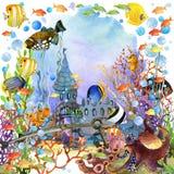 meno νησιών της Ινδονησίας gili lombok κοντά στον υποβρύχιο κόσμο χελωνών θάλασσας απεικόνιση watercolor ψαριών κοραλλιογενών υφά απεικόνιση αποθεμάτων