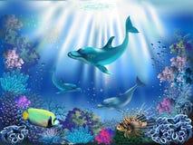 meno de lombok d'île de l'Indonésie de gili près de monde sous-marin de tortue de mer illustration libre de droits