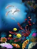 meno de lombok d'île de l'Indonésie de gili près de monde sous-marin de tortue de mer illustration stock