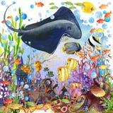 meno de lombok d'île de l'Indonésie de gili près de monde sous-marin de tortue de mer illustration d'aquarelle de poissons de réc Images libres de droits