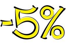 Meno uno sconto di cinque per cento su un fondo bianco Fotografie Stock Libere da Diritti