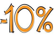 Meno uno sconto di dieci per cento su un fondo bianco Fotografia Stock Libera da Diritti