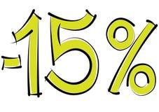 Meno uno sconto di quindici per cento su un fondo bianco Immagine Stock