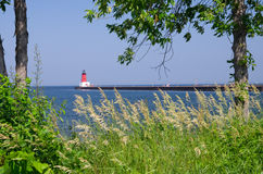 Menominee North Pier Lighthouse, Michigan. USA royalty free stock photo