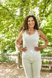 Menopausal woman has a flat belly Stock Photo