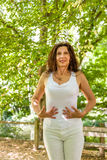 Menopausal woman has a flat belly Stock Photos