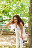 Menopausal woman looks into the distance Royalty Free Stock Photo