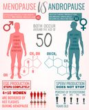 Menopause And Andropause. Menopause vs andropause. Main facts about men and women sexual health. Beautiful vector illustration. Medical infographic with hormones Stock Images