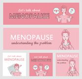 Menopause banners collection. For medical or gynecology web site and social media vector illustration
